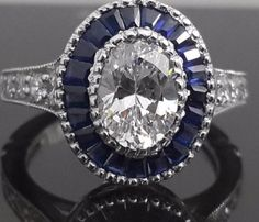 Oval vintage blue sapphire halo with milgrains .925 sterling silver AA