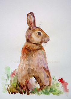 ARTFINDER: Bunny by Zaira Dzhaubaeva - Original watercolor painting on paper.  Cute bunny.  Please note that the colors of the original paintings are always slightly different than it appears ...