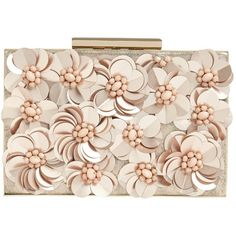 Phase Eight Flora Rose Gold Box Clutch ($90) ❤ liked on Polyvore featuring bags, handbags, clutches, evening handbags, pink handbags, rose gold tote, evening clutches and rose gold clutches