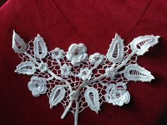 lace antique floral flowers collar ? embroidery applique ? found in Ireland