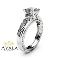 Victorian Moissanite Engagement Ring 14K White Gold Milgrain