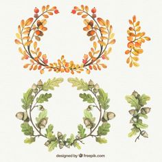 Watercolor autumnal wreaths Free Vector