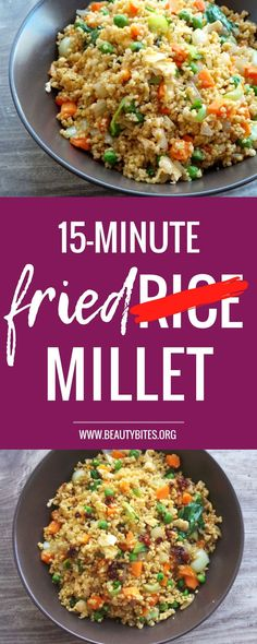 Healthy fried rice, only not really rice, but millet to get some extra nutrition. One of my go to quick, easy healthy dinner recipes! When I don't know what to make for dinner - I usually make this. You can also meal prep this recipe, it would keep in the