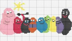 The barbapapa - Cross Stitch For Kids, Cross Stitch Baby, Cross Stitch Charts, Cross Stitch Patterns, Fuse Bead Patterns, Beading Patterns, Embroidery Patterns, Cross Stitching, Cross Stitch Embroidery