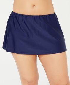 Island Escape Plus Size Swim Skirt, Created for Macy's - Bl Plus Size Skirts, Plus Size Jeans, Swim Shorts Women, Gym Shorts Womens, Swim Skirt, Swim Dress, Plus Size Womens Clothing, Trendy Clothing, Swimsuit Cover Ups