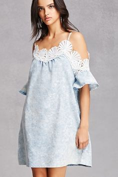 A denim dress featuring a mineral wash, V-neckline, open-shoulders, a seashell embroidered trim, cami straps, and short sleeves.<p>- This is an independent brand and not a Forever 21 branded item.</p>
