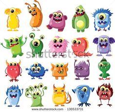 Cartoon Cute Monsters And Bacterias Stock-Vektorgrafik - Illustration 196319195 : Shutterstock Cute Monsters Drawings, Cartoon Monsters, Cartoon Faces, Little Monsters, Funny Monsters, Doodle Monster, Monster Drawing, Monster Characters, Cute Characters