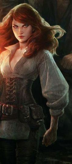 Fantasy Women, Fantasy Rpg, Medieval Fantasy, Story Characters, Fantasy Characters, Female Characters, Redhead Characters, Fantasy Character Design, Character Art
