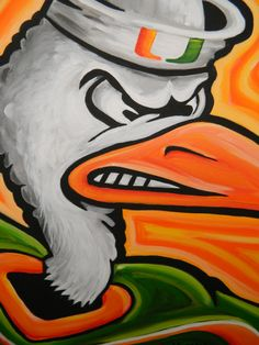 Miami Hurricanes painting sports art college by crockerart on Etsy, $50.00