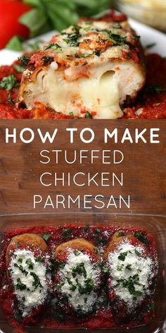 Stuffed Chicken Parmesan - Food Recipes Delicious And Healthy Pasta Recipes, Dinner Recipes, Cooking Recipes, Healthy Recipes, New Recipes, Delicious Recipes, Recipies, Bariatric Recipes, Cooking Time