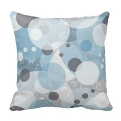 Misty Blue Circles Pillow