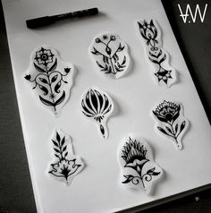 AWA Production Black Traditional Floral Tattoo Flash.