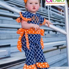 Gameday Prep Ava Romper Auburn Tigers Boutique Children's Clothing & Accessories $48 Perfect for football Tailgating, monogram ready!