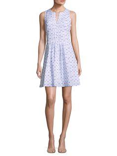 CECE Pintuck Pleat Printed Flare Dress