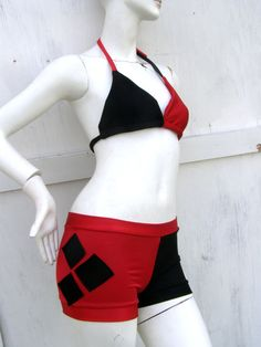 Harley Quinn Batman your size Bikini Swim Suit costume Cosplay Arkham