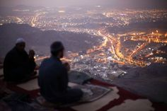 Muslim pilgrims pray atop Mount Thor in the holy city of Mecca ahead of the annual Hajj pilgrimage, on October 11, 2013.