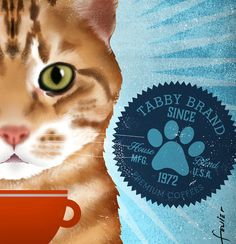 Orange Tabby Cat Coffee Company graphic artwork giclee archival signed artist's print by Stephen Fowler Illustrations, Graphic Illustration, Crazy Cat Lady, Crazy Cats, Jellicle Cats, Etiquette Vintage, What Cat, Dog Coffee, Orange Tabby Cats