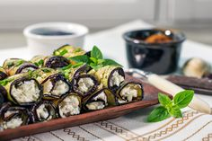 Fetás padlizsántekercsek - Recept | Femina Sprouts, Feta, Sushi, Vegetables, Ethnic Recipes, Vegetable Recipes, Veggies, Sushi Rolls