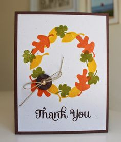 Little Bay Stampin': Fall Wreath Card