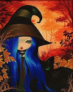 Art 'With Shy Cat' - by Nico Niemi from witches Halloween Painting, Halloween Drawings, Cute Halloween, Fantasy Kunst, Fantasy Art, Witch Pictures, Witch Art, Cute Animal Drawings, Artist Portfolio