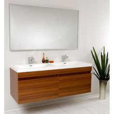 Have to have it. Fresca Largo 56.5-in. Wavy Double Sink Modern Bathroom Vanity FVN8040GO - $1657 @hayneedle.com