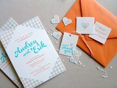 Cute orange and baby blue wedding invites - Brides of Adelaide