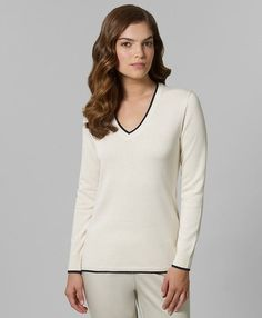 Brooks Brothers | Cotton Cashmere Tipped V-Neck Sweater - StyleSays
