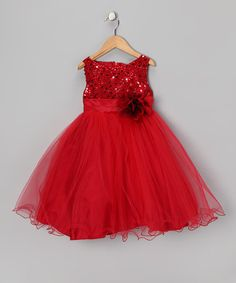 Loving this Red Sequin Tulle A-Line Dress - Infant, Toddler & Girls on #zulily! #zulilyfinds