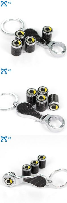 [Visit to Buy] 4Pcs/set Carbon Fiber Wheel Car Styling For Smart Logo Forfour Fortwo pure Badge With Mini Wrench Keychain Tire Valve Stems Caps #Advertisement