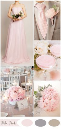 pale pink spring wedding color ideas and bridesmaid dresses Pink wedding inspiration and ideas for the alternative creative bride Pink Wedding Colors, Blush Pink Weddings, Wedding Color Schemes, Wedding Flowers, Colour Schemes, Diy Flowers, Light Pink Wedding Dress, Burgundy Wedding, Wedding Bouquets