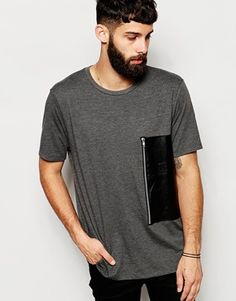 ASOS T-Shirt With Leather Look Panel And Zip Detail In Relaxed Fit