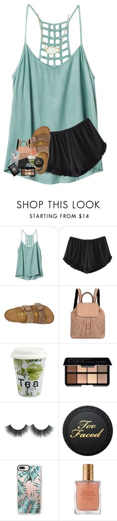 """"" by lindsaygreys ❤ liked on Polyvore featuring RVCA, Birkenstock, Mellow World, Könitz, Smashbox, Casetify, Passport, Estée Lauder and Kendra Scott"
