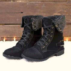 Cambridge Black Fur Cuff Lace Up Boots