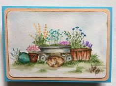 Art Impressions Wonderful Water Color... handmade watercolor card. Wagon, cat, containers, pots, flowers, grass, foliage