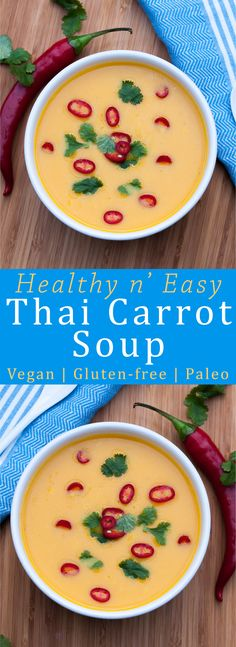 Healthy, Creamy n' real Easy Thai Carrot Soup Recipe. Vegan, Gluten-free and Paleo! | VeganFamilyRecipes.com | #gf #lunch #health