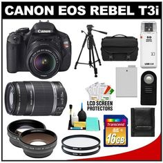 Canon EOS Rebel T3i Digital SLR Camera Body & EF-S 18-55mm IS II Lens with 55-250mm IS Lens + 16GB Card +.45x Wide Angle & 2x Telephoto Lenses + Battery + Remote + (2) Filters + Tripod + Accessory Kit by Canon. $819.95. Kit includes:♦ 1) Canon EOS Rebel T3i Digital SLR Camera Body & EF-S 18-55mm IS II Lens♦ 2) Canon EF-S 55-250mm IS Zoom Lens♦ 3) Transcend 16GB SecureDigital Class 10 (SDHC) Card♦ 4) PD .45x Digital Wide Angle Macro Lens (58mm Black)♦ 5) PD 2x Digit...