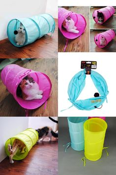 [Visit to Buy] Pet Tunnel Cat 3 Colors Lovely Crinkly Kitten Tunnel Toy With Ball Play Fun Toy Tunnel Rabbit Play Tunnel Bulk Cat Toys #Advertisement