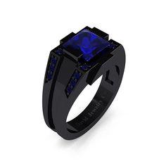 Mens Modern 14k Black Gold 2.0 Carat Princess Blue Sapphire Wedding Ring R1020M-14KBGBS