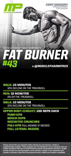 Fat Burner #43 - would definitely do this at the gym, do 25 reps 4x, or 20 reps 5x, of the upper-body stuff to break it up