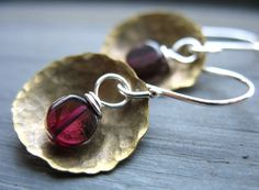 Garnet Earrings Garnet Stone Hammered Brass by LuminousCreation