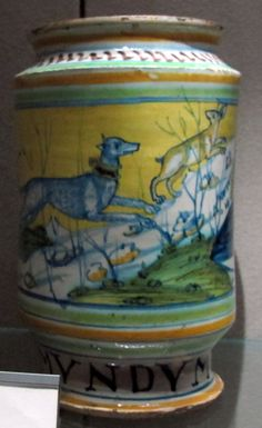 Faenza, Albarello with dog hunting, 1500 ca..JPG