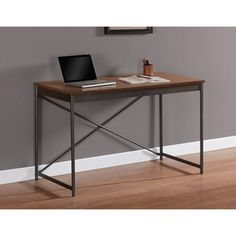 @Overstock.com - Elements Cross Design Desk - At first glance, this Elements Cross Desk looks like an antique because of its design. The materials used to create this amazing desk are rubberwood veneer, metal, and MDF. You will be completely satisfied