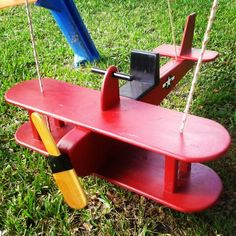 """Airplane swing ~ SetSailMarine.com  Inspiration for this swing is from several different plans online.  I increased the overall length & wing width dimensions by 25% for a more """"realistic"""" look.  I also made the prop from a 2 x 4 that I cut on a tablesaw. If you have any questions feel free to contact us."""