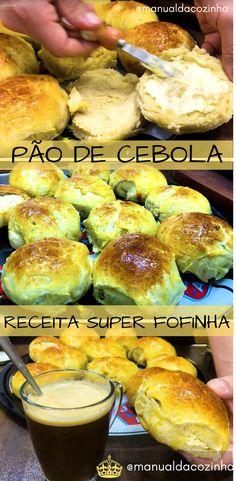 Receita de Pão de Cebola, um dos melhores pães, sabor sem igual, passe um café e aprenda a preparar essa delícia! #receita #pão #padaria #comida #culinaria #manualdacozinha #aguanaboca #gastronomia