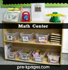 What's in Your Math Center? Math Center Materials for Your Preschool, Pre-K, or Kindergarten Classroom via e- Preschool Centers, Numbers Preschool, Preschool Learning, Kindergarten Classroom, Teaching Math, Math Centers, Math Activities, Learning Centers, Writing Centers