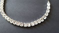 Kramer NY Clear Rhinestone Necklace {Bridal Jewelry Signed Vintage White Diamante Crystal 1960's 60's 1960s Emerald Cut FREE SHIPPING}