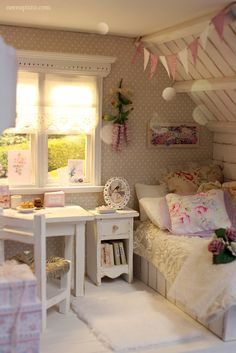 Vintage for little girls. Spotted wallpaper is the perfect backdrop, love it.