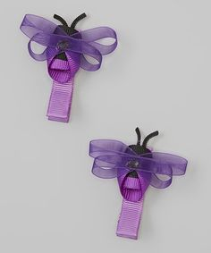 Another great find on #zulily! Purple Bumble Bee Clip - Set of Two #zulilyfinds