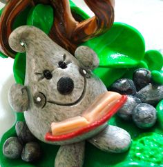 READING PARKER Under a TREE  Polymer Clay Character by KatersAcres, $57.00