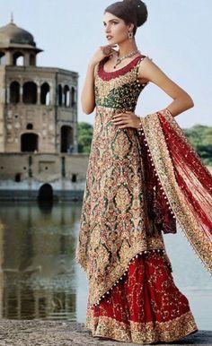 Bride at Lahore, Pakistan - Pakistani bridal fashion. Holy cow that's gorgeous.